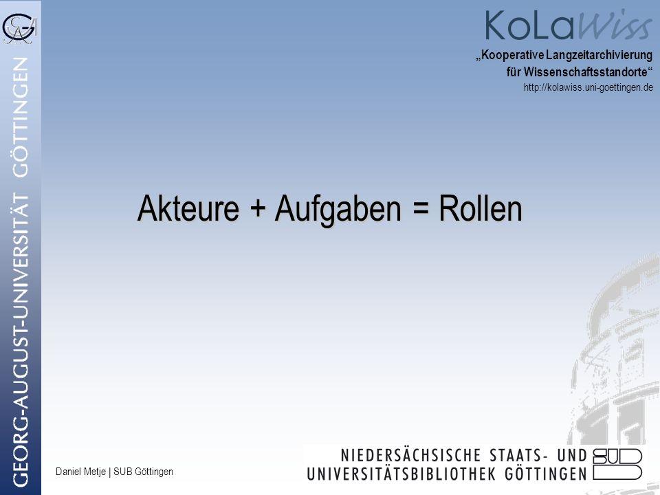 Daniel Metje   SUB Göttingen Akteure + Aufgaben = Rollen Kooperative Langzeitarchivierung für Wissenschaftsstandorte http://kolawiss.uni-goettingen.de