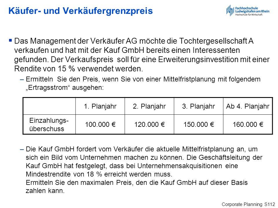 Corporate Planning S112 Käufer- und Verkäufergrenzpreis Das Management der Verkäufer AG möchte die Tochtergesellschaft A verkaufen und hat mit der Kau
