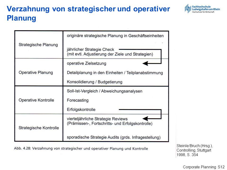 Corporate Planning S12 Verzahnung von strategischer und operativer Planung Steinle/Bruch (Hrsg.), Controlling, Stuttgart 1998, S. 354