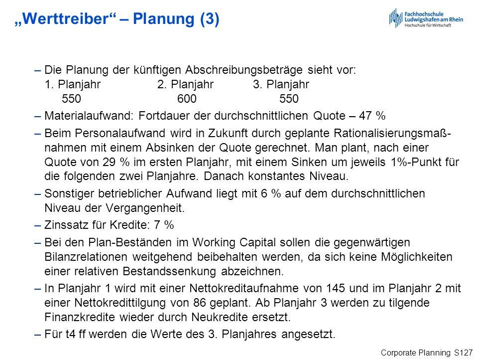 Corporate Planning S127 Werttreiber – Planung (3) –Die Planung der künftigen Abschreibungsbeträge sieht vor: 1. Planjahr2. Planjahr3. Planjahr 550 600