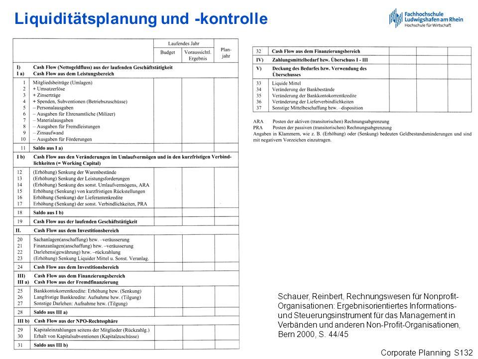 Corporate Planning S132 Schauer, Reinbert, Rechnungswesen für Nonprofit- Organisationen: Ergebnisorientiertes Informations- und Steuerungsinstrument f