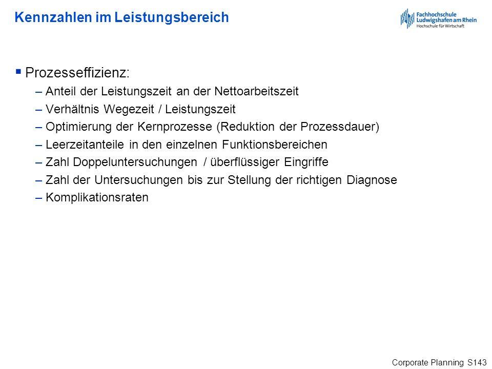 Corporate Planning S143 Kennzahlen im Leistungsbereich Prozesseffizienz: –Anteil der Leistungszeit an der Nettoarbeitszeit –Verhältnis Wegezeit / Leis