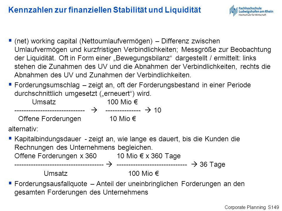 Corporate Planning S149 Kennzahlen zur finanziellen Stabilität und Liquidität (net) working capital (Nettoumlaufvermögen) – Differenz zwischen Umlaufv