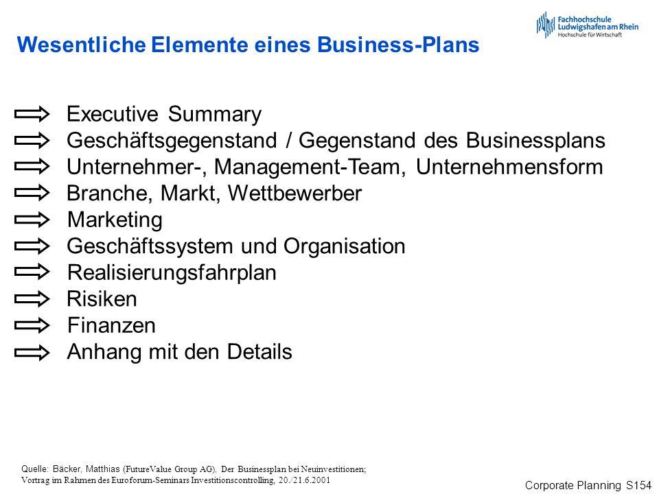 Corporate Planning S154 Executive Summary Anhang mit den Details Unternehmer-, Management-Team, Unternehmensform Branche, Markt, Wettbewerber Geschäft