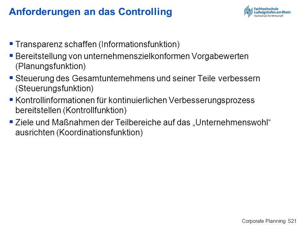 Corporate Planning S21 Anforderungen an das Controlling Transparenz schaffen (Informationsfunktion) Bereitstellung von unternehmenszielkonformen Vorga