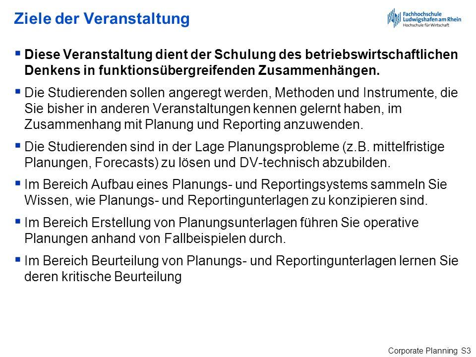 Corporate Planning S124 Werttreiber - Vergangenheit