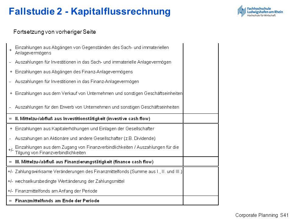 Corporate Planning S41 Fallstudie 2 - Kapitalflussrechnung Fortsetzung von vorheriger Seite