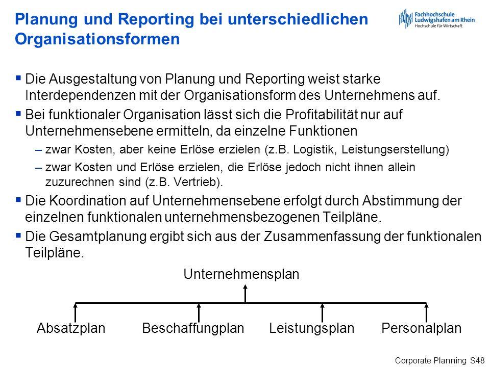 Corporate Planning S48 Planung und Reporting bei unterschiedlichen Organisationsformen Die Ausgestaltung von Planung und Reporting weist starke Interd
