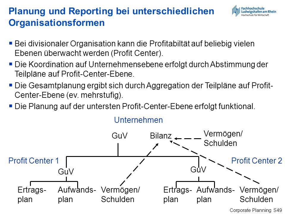 Corporate Planning S49 Planung und Reporting bei unterschiedlichen Organisationsformen Bei divisionaler Organisation kann die Profitabiltät auf belieb