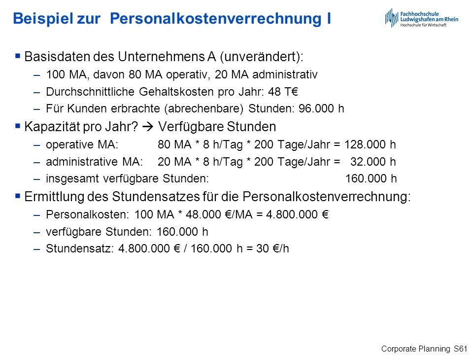 Corporate Planning S61 Beispiel zur Personalkostenverrechnung I Basisdaten des Unternehmens A (unverändert): –100 MA, davon 80 MA operativ, 20 MA admi