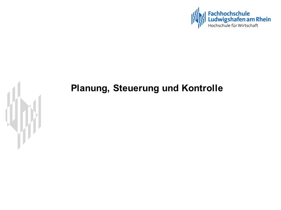 Planung, Steuerung und Kontrolle