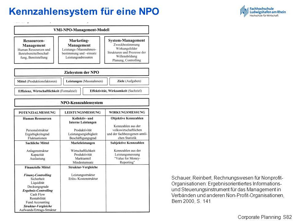 Corporate Planning S82 Kennzahlensystem für eine NPO Schauer, Reinbert, Rechnungswesen für Nonprofit- Organisationen: Ergebnisorientiertes Information
