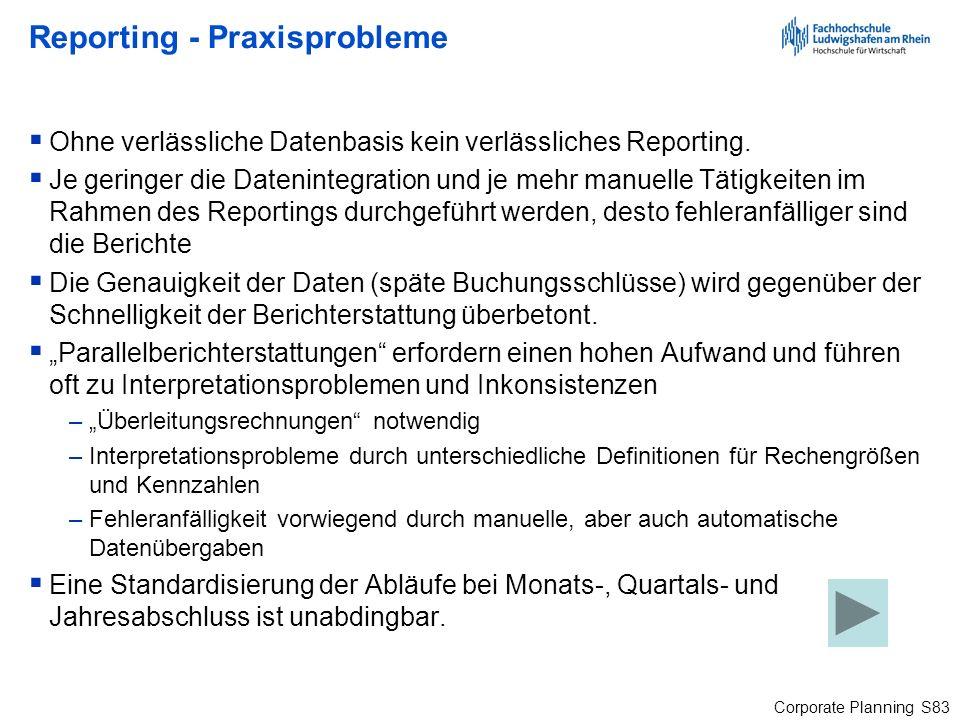 Corporate Planning S83 Reporting - Praxisprobleme Ohne verlässliche Datenbasis kein verlässliches Reporting. Je geringer die Datenintegration und je m