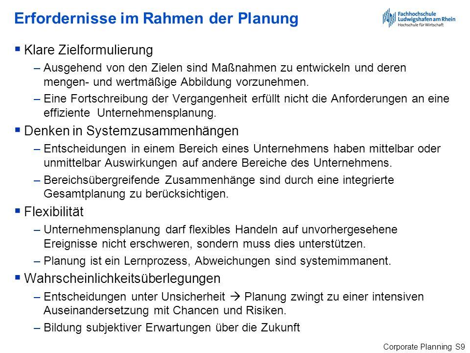 Corporate Planning S70 Entscheidungsebenen und Informationsbedarf Steinle/Bruch (Hrsg.), Controlling, Stuttgart 1998, S.
