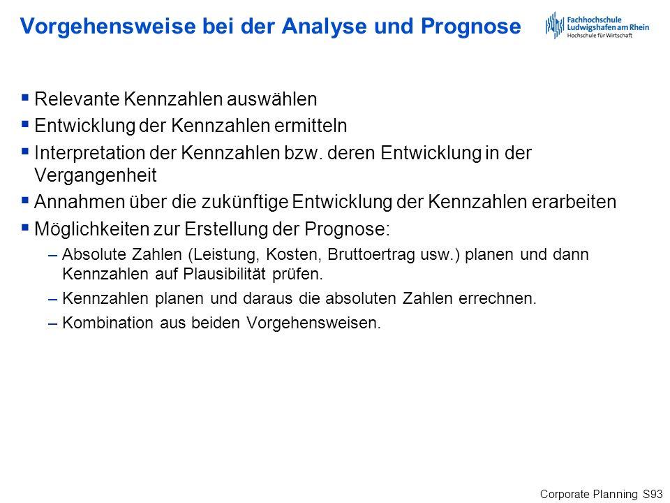 Corporate Planning S93 Vorgehensweise bei der Analyse und Prognose Relevante Kennzahlen auswählen Entwicklung der Kennzahlen ermitteln Interpretation