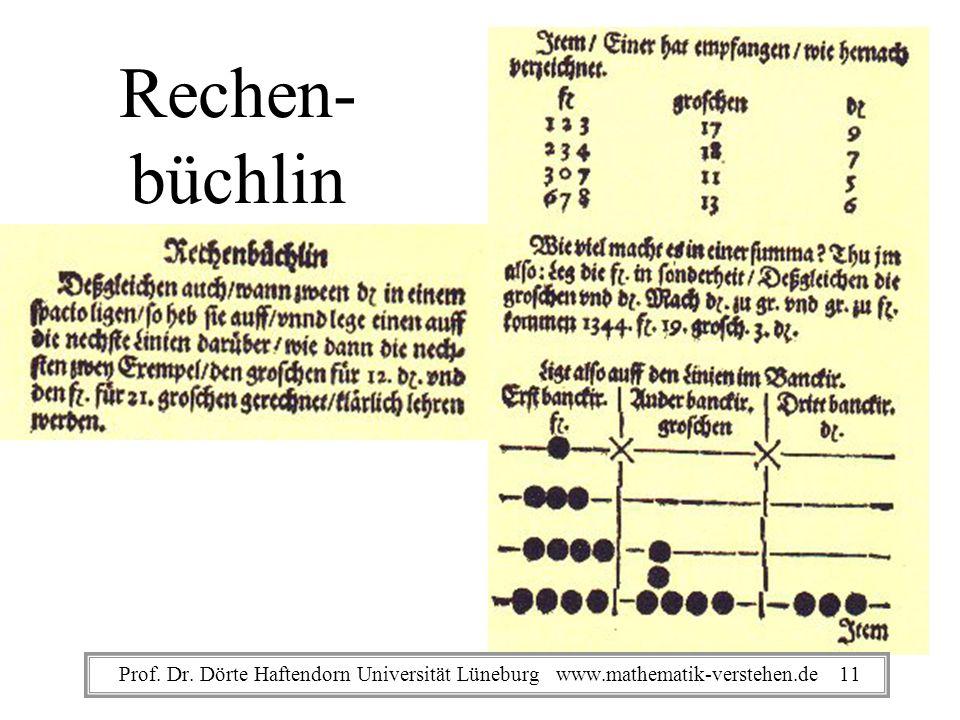 Rechen- büchlin Prof. Dr. Dörte Haftendorn Universität Lüneburg www.mathematik-verstehen.de 11