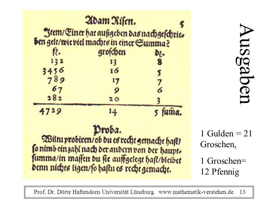 Ausgaben 1 Gulden = 21 Groschen, 1 Groschen= 12 Pfennig Prof. Dr. Dörte Haftendorn Universität Lüneburg www.mathematik-verstehen.de 13