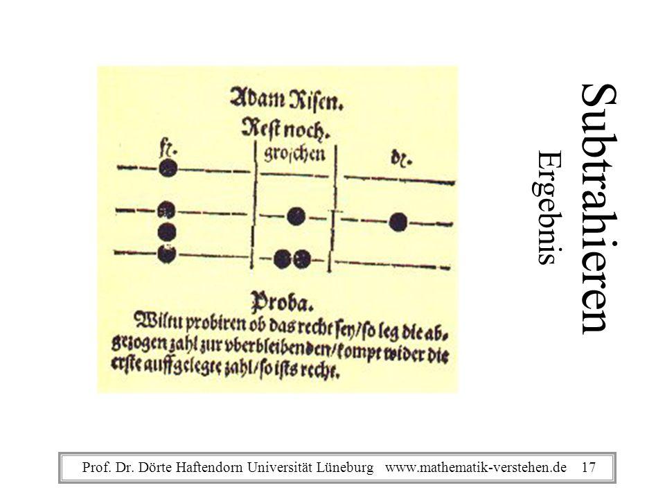Subtrahieren Ergebnis Prof. Dr. Dörte Haftendorn Universität Lüneburg www.mathematik-verstehen.de 17