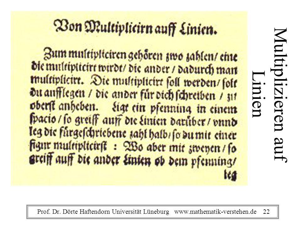 Multiplizieren auf Linien Prof. Dr. Dörte Haftendorn Universität Lüneburg www.mathematik-verstehen.de 22
