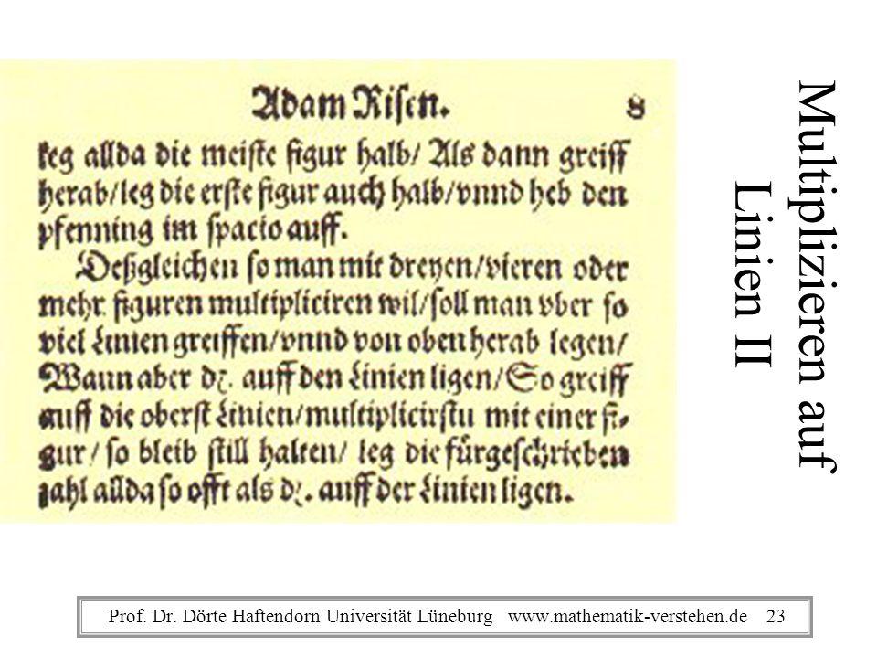 Multiplizieren auf Linien II Prof. Dr. Dörte Haftendorn Universität Lüneburg www.mathematik-verstehen.de 23