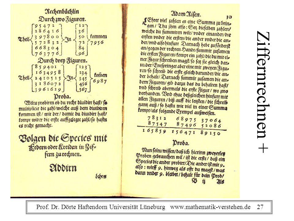 Ziffernrechnen + Prof. Dr. Dörte Haftendorn Universität Lüneburg www.mathematik-verstehen.de 27