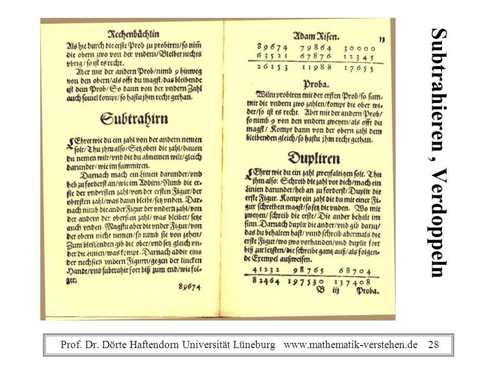 Subtrahieren, Verdoppeln Prof. Dr. Dörte Haftendorn Universität Lüneburg www.mathematik-verstehen.de 28