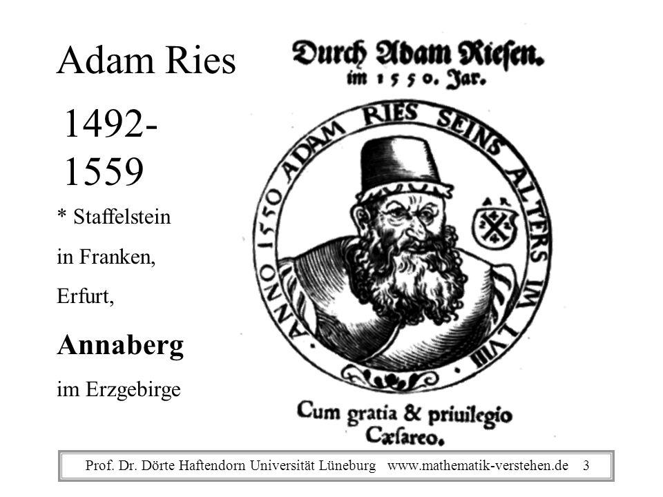 Adam Ries 1492- 1559 * Staffelstein in Franken, Erfurt, Annaberg im Erzgebirge Prof.