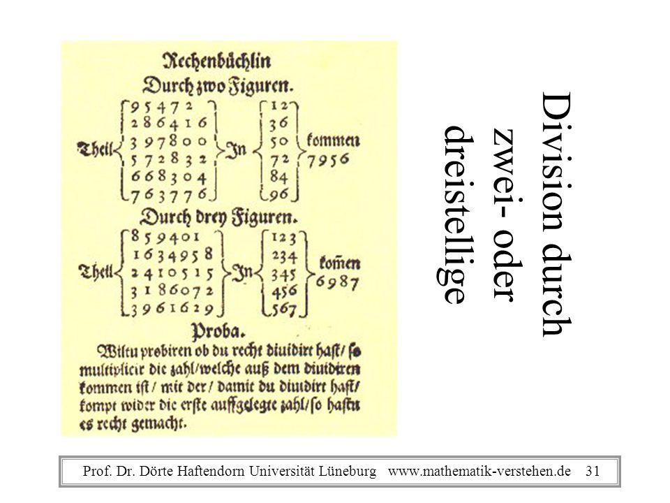 Division durch zwei- oder dreistellige Prof. Dr. Dörte Haftendorn Universität Lüneburg www.mathematik-verstehen.de 31