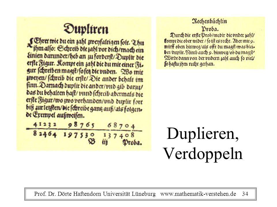 Duplieren, Verdoppeln Prof. Dr. Dörte Haftendorn Universität Lüneburg www.mathematik-verstehen.de 34