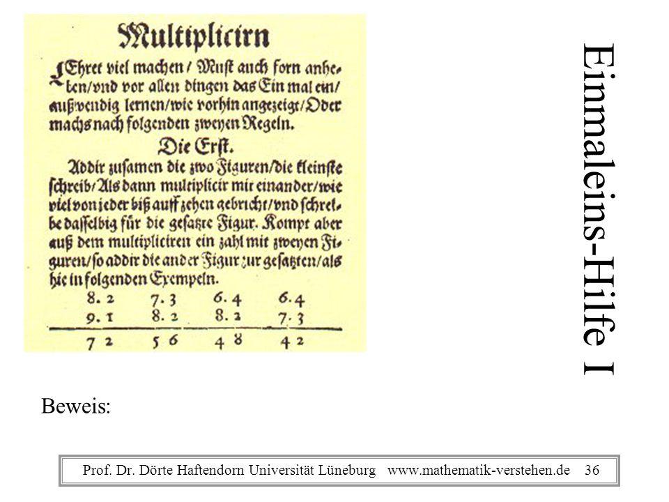 Einmaleins-Hilfe I Beweis: Prof. Dr. Dörte Haftendorn Universität Lüneburg www.mathematik-verstehen.de 36