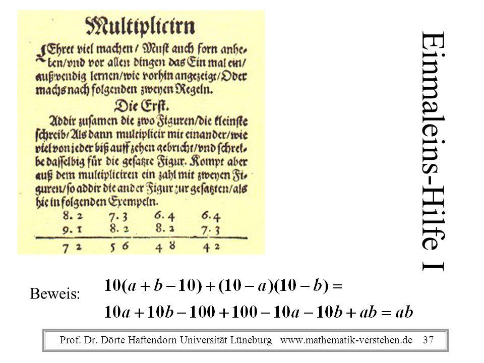 Einmaleins-Hilfe I Beweis: Prof. Dr. Dörte Haftendorn Universität Lüneburg www.mathematik-verstehen.de 37
