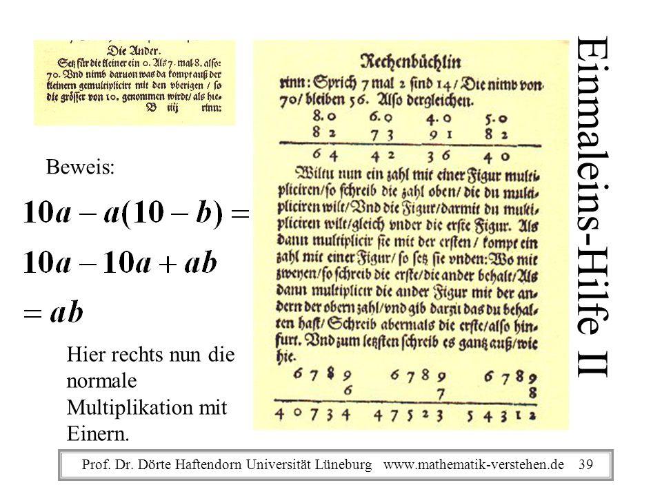 Einmaleins-Hilfe II Hier rechts nun die normale Multiplikation mit Einern. Beweis: Prof. Dr. Dörte Haftendorn Universität Lüneburg www.mathematik-vers