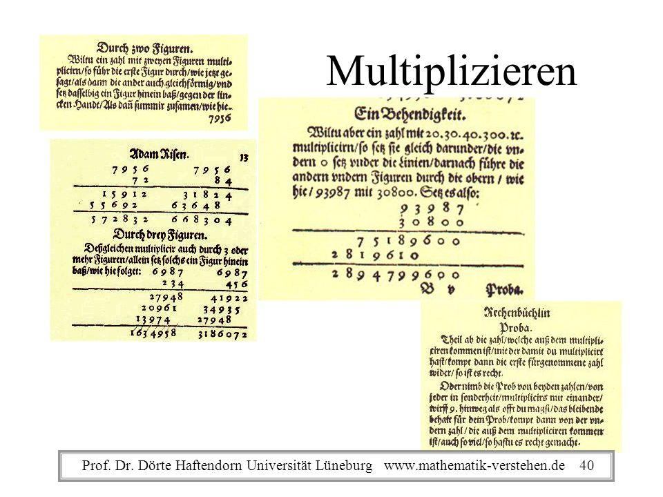 Multiplizieren Prof. Dr. Dörte Haftendorn Universität Lüneburg www.mathematik-verstehen.de 40