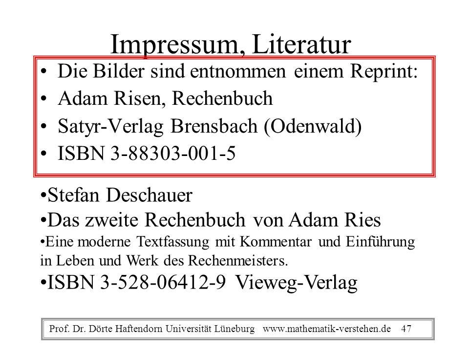 Impressum, Literatur Die Bilder sind entnommen einem Reprint: Adam Risen, Rechenbuch Satyr-Verlag Brensbach (Odenwald) ISBN 3-88303-001-5 Stefan Desch