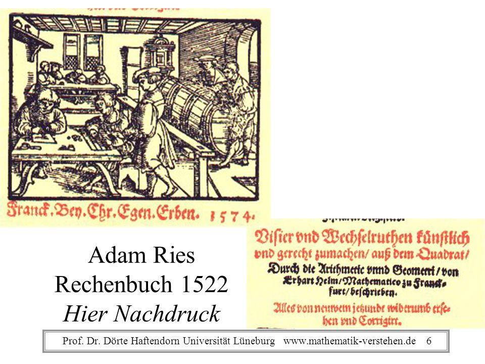 Adam Ries Rechenbuch 1522 Hier Nachdruck Prof. Dr. Dörte Haftendorn Universität Lüneburg www.mathematik-verstehen.de 6
