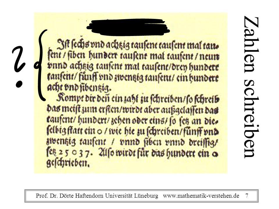 Zahlen schreiben Prof. Dr. Dörte Haftendorn Universität Lüneburg www.mathematik-verstehen.de 7