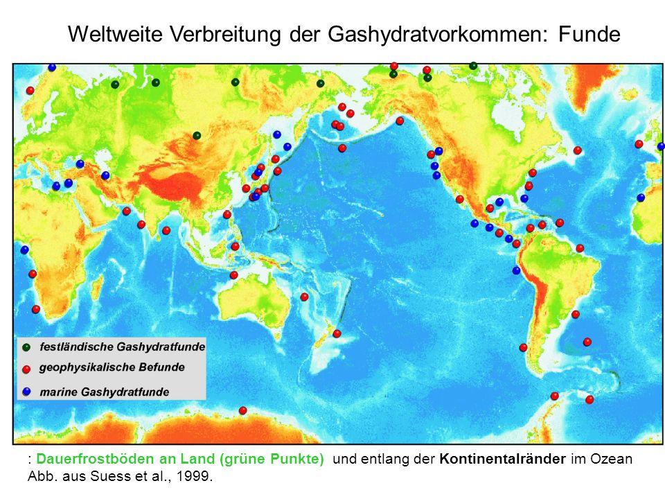 : Dauerfrostböden an Land (grüne Punkte) und entlang der Kontinentalränder im Ozean Abb. aus Suess et al., 1999. Weltweite Verbreitung der Gashydratvo