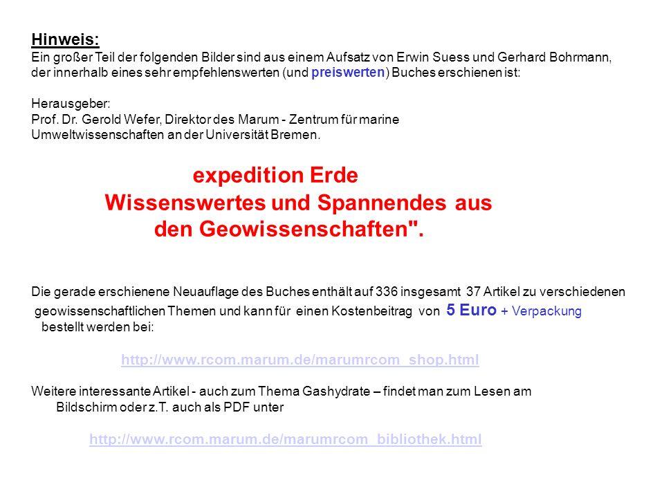 Hinweis: Ein großer Teil der folgenden Bilder sind aus einem Aufsatz von Erwin Suess und Gerhard Bohrmann, der innerhalb eines sehr empfehlenswerten (