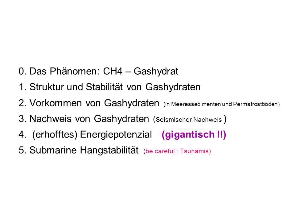 0. Das Phänomen: CH4 – Gashydrat 1. Struktur und Stabilität von Gashydraten 2. Vorkommen von Gashydraten (in Meeressedimenten und Permafrostböden) 3.
