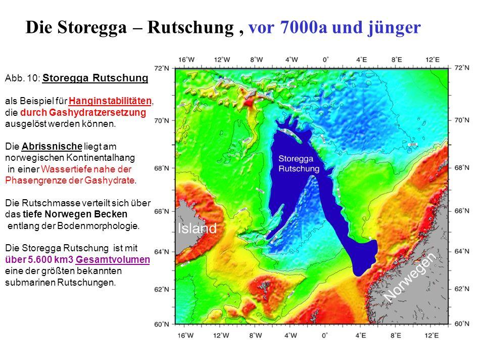 Abb. 10: Storegga Rutschung als Beispiel für Hanginstabilitäten, die durch Gashydratzersetzung ausgelöst werden können. Die Abrissnische liegt am norw