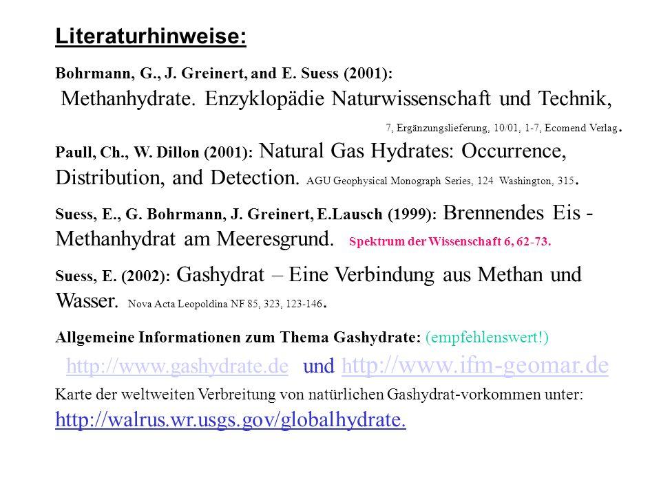 Literaturhinweise: Bohrmann, G., J. Greinert, and E. Suess (2001): Methanhydrate. Enzyklopädie Naturwissenschaft und Technik, 7, Ergänzungslieferung,