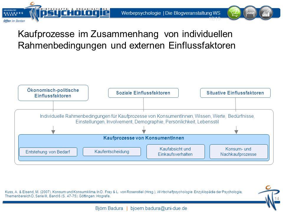 Björn Badura | bjoern.badura@uni-due.de Werbepsychologie | Die Blogveranstaltung WS 12/13 14 Kaufprozesse im Zusammenhang von individuellen Rahmenbedi
