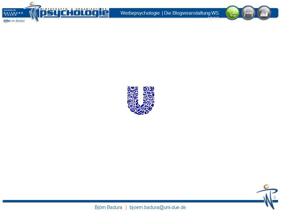 Björn Badura | bjoern.badura@uni-due.de Werbepsychologie | Die Blogveranstaltung WS 12/13 39 beatwork83 | Montags von 12 -14 Uhr ihr müst 50 Punkte erreichen: Kommentare (5) korrekte Quiz-Antworten (1) Referatsanforderungen: 2000 Wörter Bilder und Abbildungen Fragen für Diskussionsstoff Veranschaulichung durch Videos Quizes: Ermöglichen Zugang zu passwortgeschützten Bereichen Helfen euch bei der Reflektion der Inhalte Präsenztermine: Anwesenheit verpflichtend Prüfungstermine + Ort werden noch bekannt gegeben Ihr müsst euch SELBSTÄNDIG für die Prüfung anmelden.