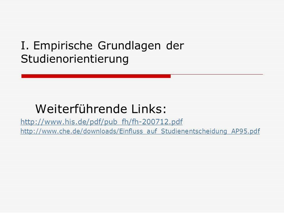 I. Empirische Grundlagen der Studienorientierung Weiterführende Links: http://www.his.de/pdf/pub_fh/fh-200712.pdf http://www.che.de/downloads/Einfluss
