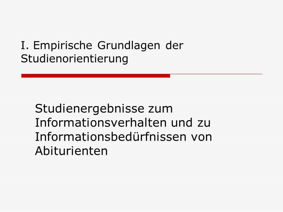 I. Empirische Grundlagen der Studienorientierung Studienergebnisse zum Informationsverhalten und zu Informationsbedürfnissen von Abiturienten