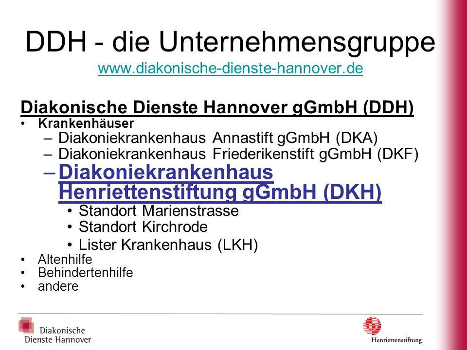 Diakoniekrankenhaus Henriettenstiftung gGmbH (DKH) Krankenhaus –472 Planbetten – 74 Rehabetten/-plätze – 13 Hauptabteilungen – 1 Belegabteilung (Augen) –ca.