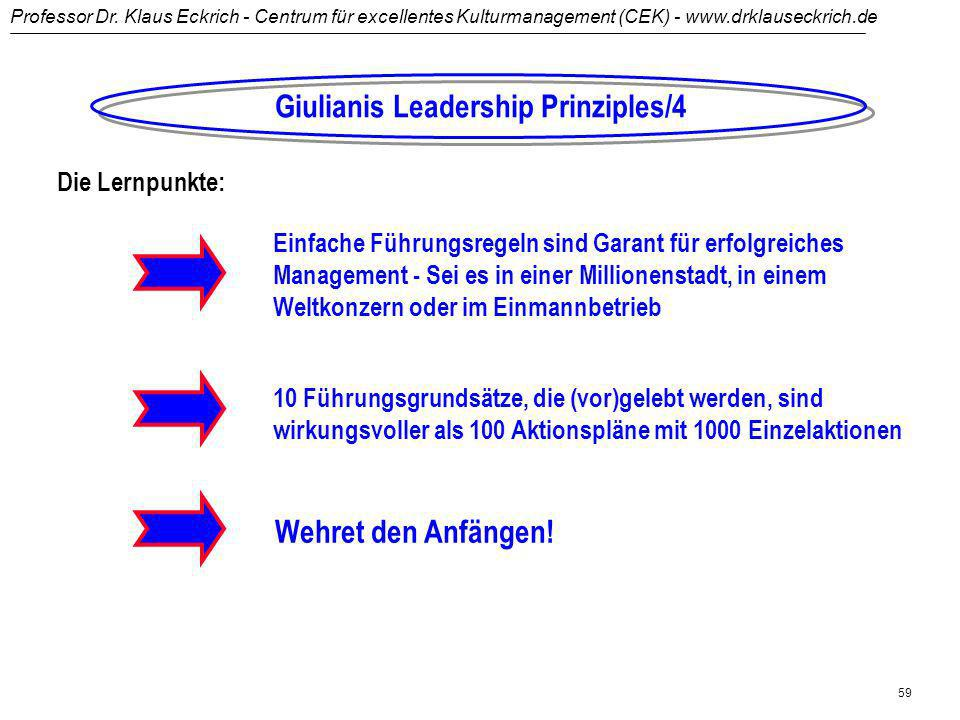 Professor Dr. Klaus Eckrich - Centrum für excellentes Kulturmanagement (CEK) - www.drklauseckrich.de 58 Das mentale Modell:Die Broken-Windows-Theorie