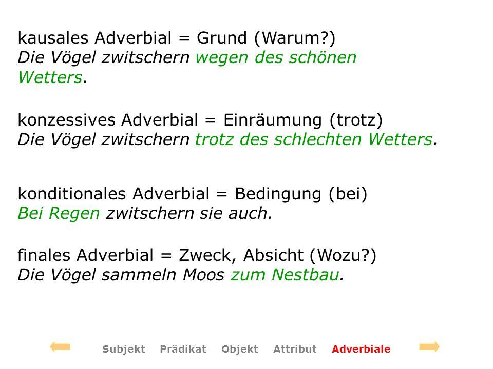 konzessives Adverbial = Einräumung (trotz) Die Vögel zwitschern trotz des schlechten Wetters. konditionales Adverbial = Bedingung (bei) Bei Regen zwit