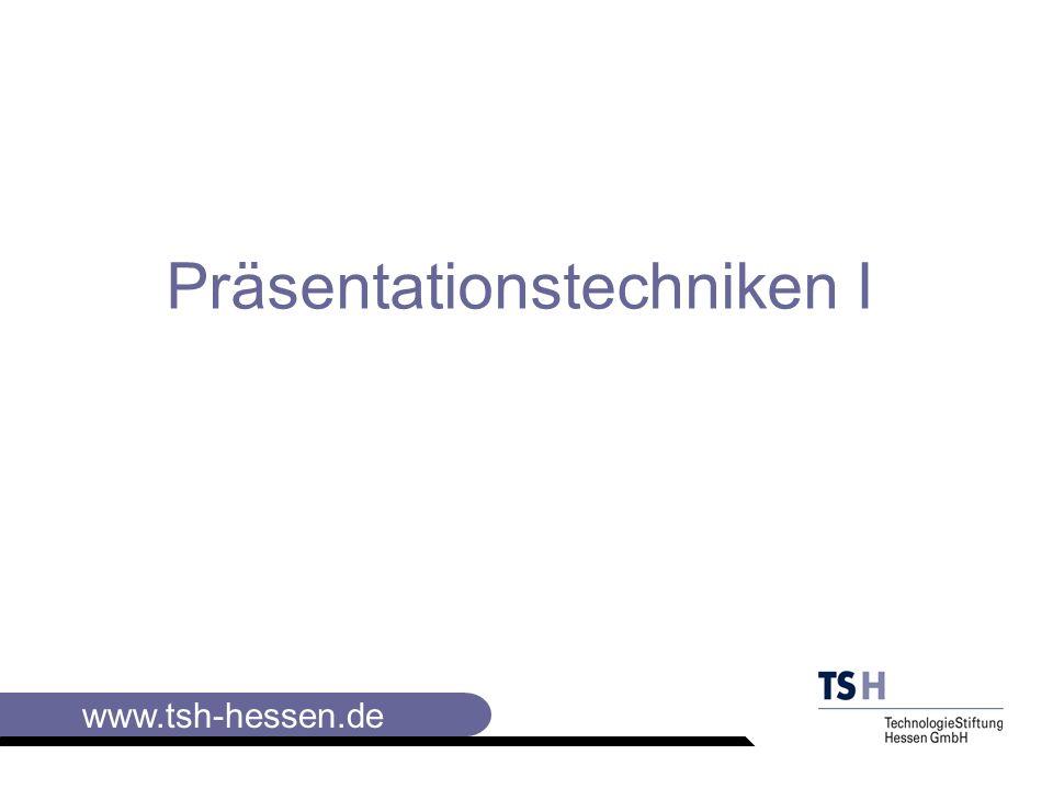 www.tsh-hessen.de Elemente der Visualisierung III Plakate gestalten: Haltung des Stiftes wie beim Kugelschreiber, wobei die Schreibfläche des Stiftest abgeschrägt ist und der Daumen auf der Seite der Spitze liegt Schreibweise: Der Stift wir breit aufgesetzt und darf nicht mehr beim Schreiben gedreht werden.