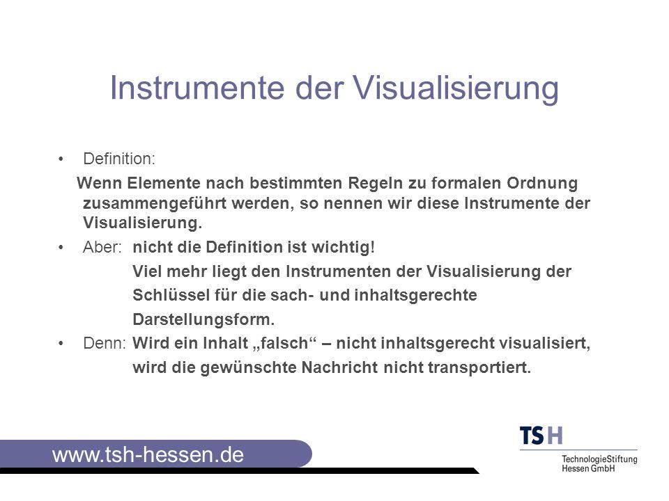 www.tsh-hessen.de Ein Beispiel: Wichtig: Kreisdiagramme eignen sich bei der Darstellung von 100%,also bei Anteilen an einem Ganzen; Säulendiagramme eignen sich bei vergleichenden Darstellungen.